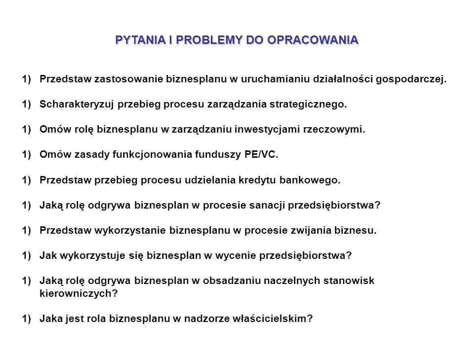 PYTANIA I PROBLEMY DO OPRACOWANIA 1)Przedstaw zastosowanie biznesplanu w uruchamianiu działalności gospodarczej.