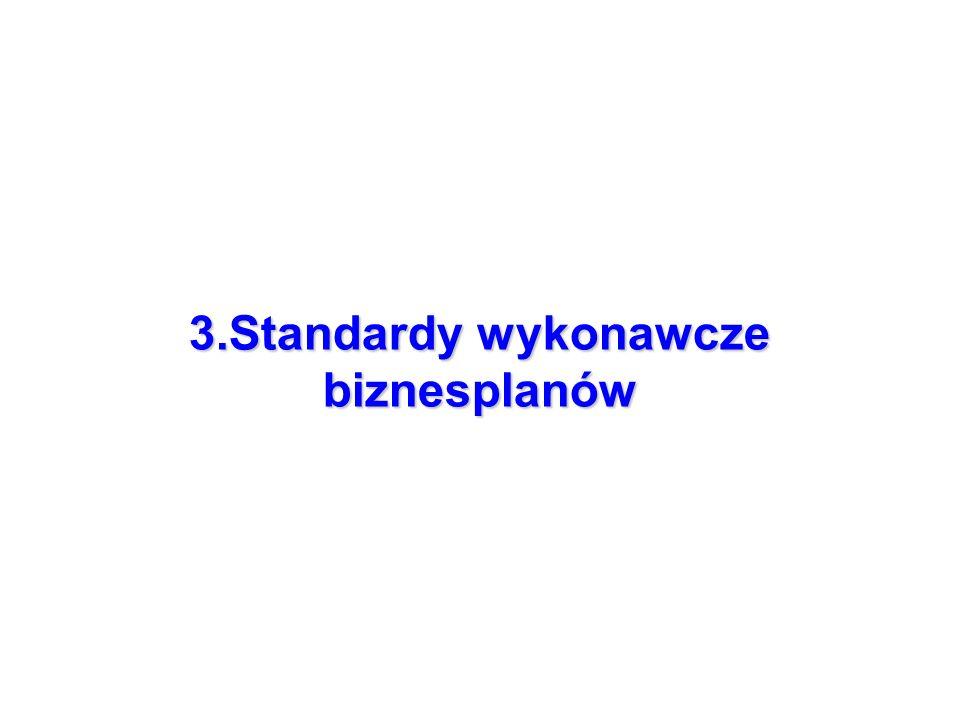 3.Standardy wykonawcze biznesplanów