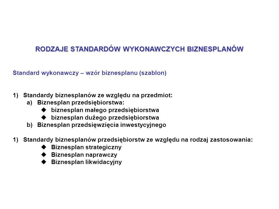 RODZAJE STANDARDÓW WYKONAWCZYCH BIZNESPLANÓW Standard wykonawczy – wzór biznesplanu (szablon) 1)Standardy biznesplanów ze względu na przedmiot: a)Biznesplan przedsiębiorstwa: biznesplan małego przedsiębiorstwa biznesplan dużego przedsiębiorstwa b)Biznesplan przedsięwzięcia inwestycyjnego 1)Standardy biznesplanów przedsiębiorstw ze względu na rodzaj zastosowania: Biznesplan strategiczny Biznesplan naprawczy Biznesplan likwidacyjny