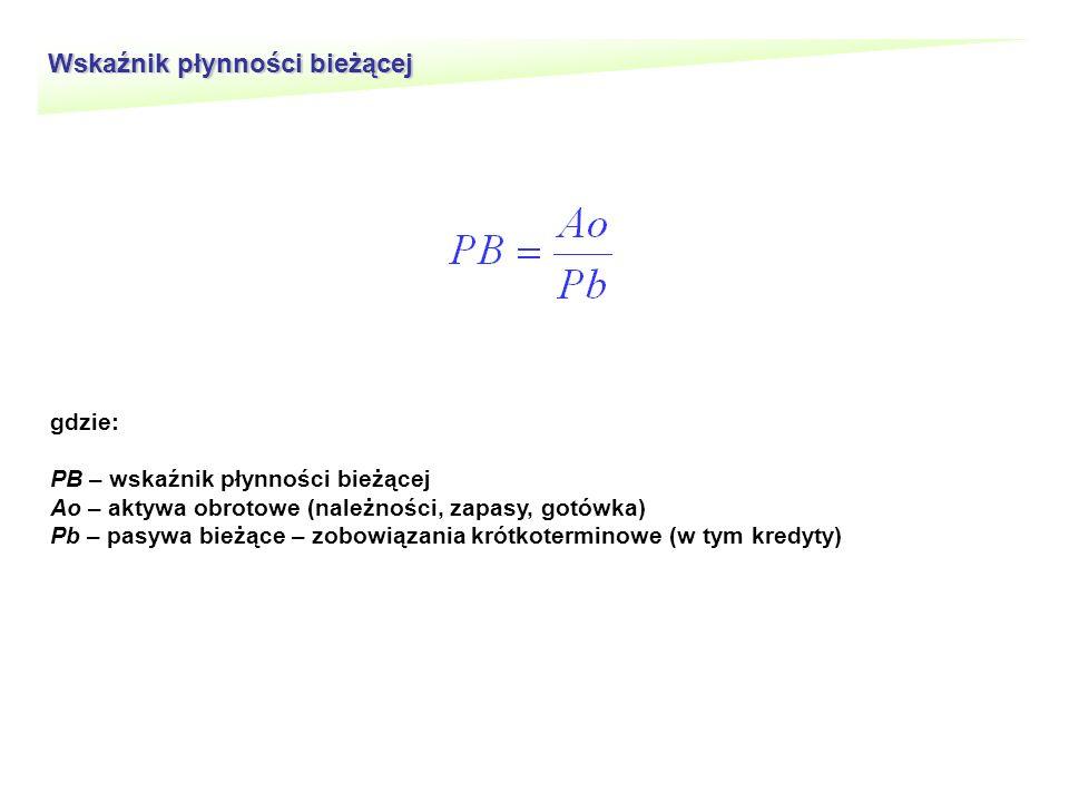Wskaźnik płynności bieżącej gdzie: PB – wskaźnik płynności bieżącej Ao – aktywa obrotowe (należności, zapasy, gotówka) Pb – pasywa bieżące – zobowiązania krótkoterminowe (w tym kredyty)