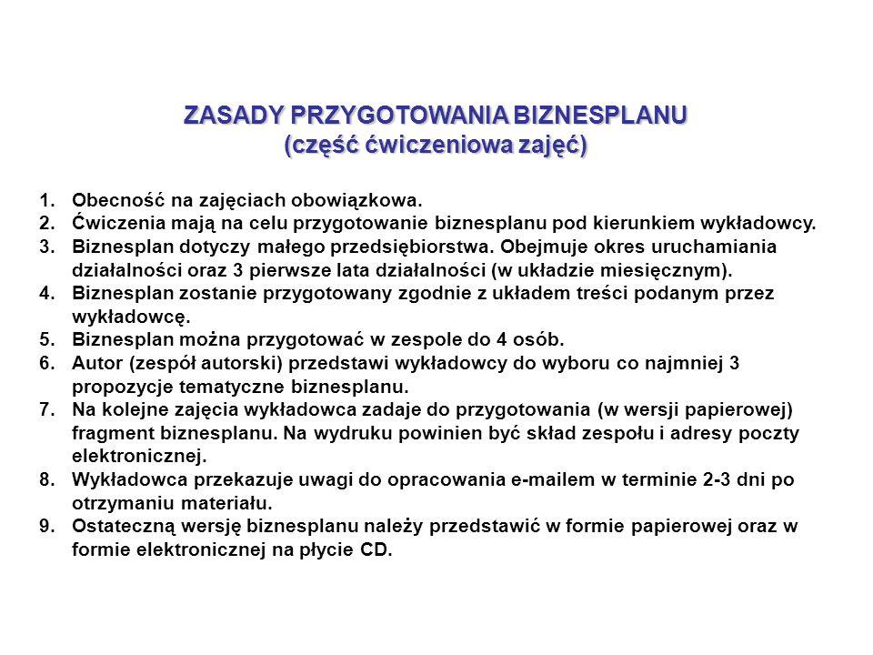 ZASADY PRZYGOTOWANIA BIZNESPLANU (część ćwiczeniowa zajęć) 1.Obecność na zajęciach obowiązkowa.