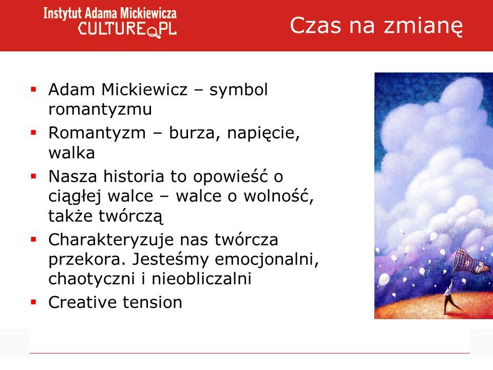 Czas na zmianę Adam Mickiewicz – symbol romantyzmu Romantyzm – burza, napięcie, walka Nasza historia to opowieść o ciągłej walce – walce o wolność, także twórczą Charakteryzuje nas twórcza przekora.