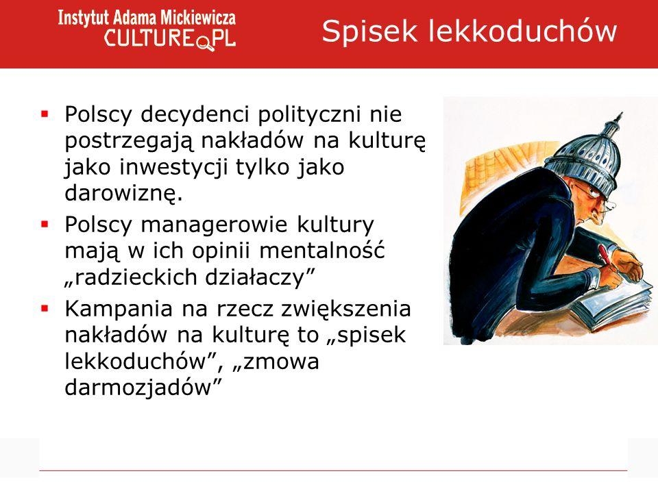 Spisek lekkoduchów Polscy decydenci polityczni nie postrzegają nakładów na kulturę jako inwestycji tylko jako darowiznę. Polscy managerowie kultury ma
