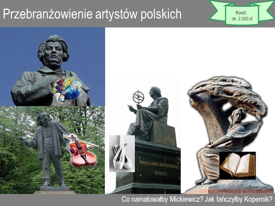 Przebranżowienie artystów polskich Co namalowałby Mickiewicz? Jak tańczyłby Kopernik? Koszt: ok. 2.000 zł