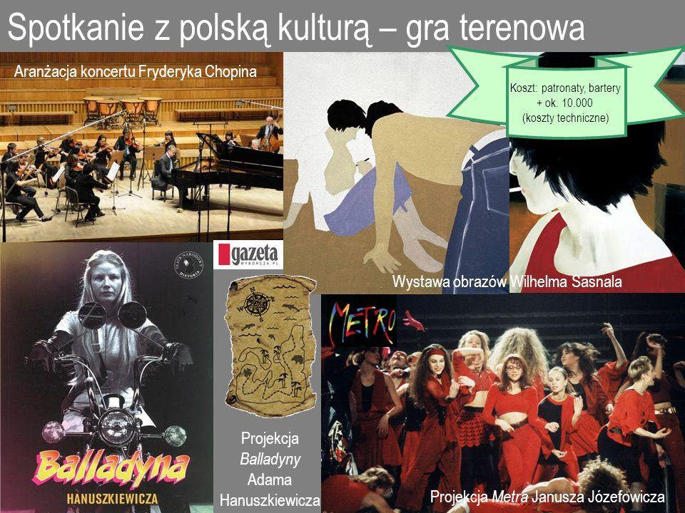 Spotkanie z polską kulturą – gra terenowa Projekcja Balladyny Adama Hanuszkiewicza Projekcja Metra Janusza Józefowicza Aranżacja koncertu Fryderyka Ch