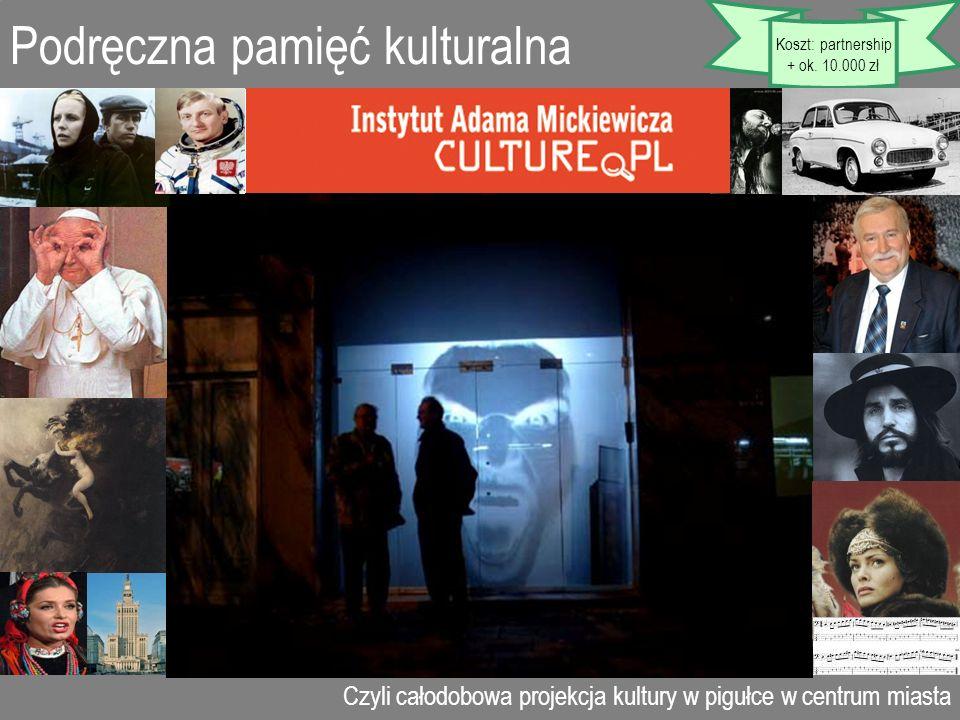 Podręczna pamięć kulturalna Czyli całodobowa projekcja kultury w pigułce w centrum miasta Koszt: partnership + ok. 10.000 zł