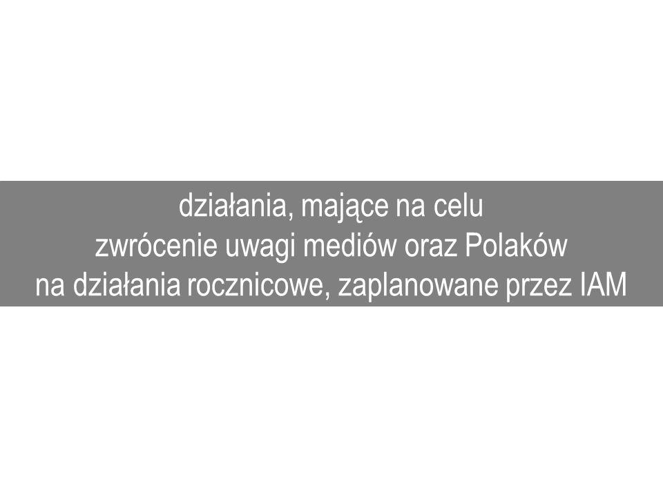 działania, mające na celu zwrócenie uwagi mediów oraz Polaków na działania rocznicowe, zaplanowane przez IAM