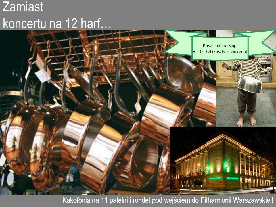 Zamiast koncertu na 12 harf… Kakofonia na 11 patelni i rondel pod wejściem do Filharmonii Warszawskiej! Koszt: partnership + 1.000 zł (koszty technicz