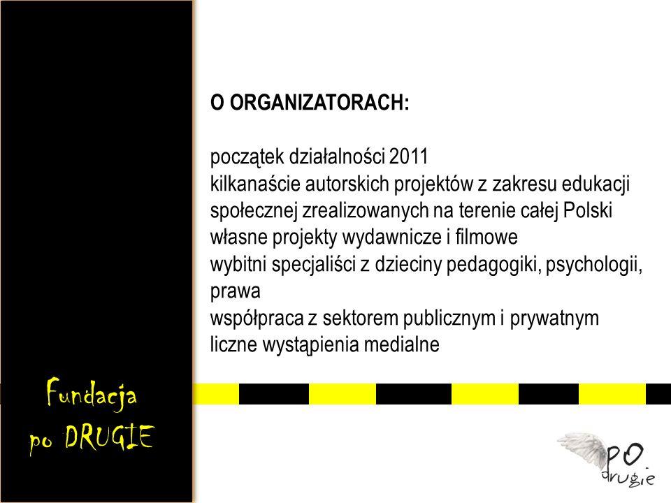 O ORGANIZATORACH: początek działalności 2011 kilkanaście autorskich projektów z zakresu edukacji społecznej zrealizowanych na terenie całej Polski wła