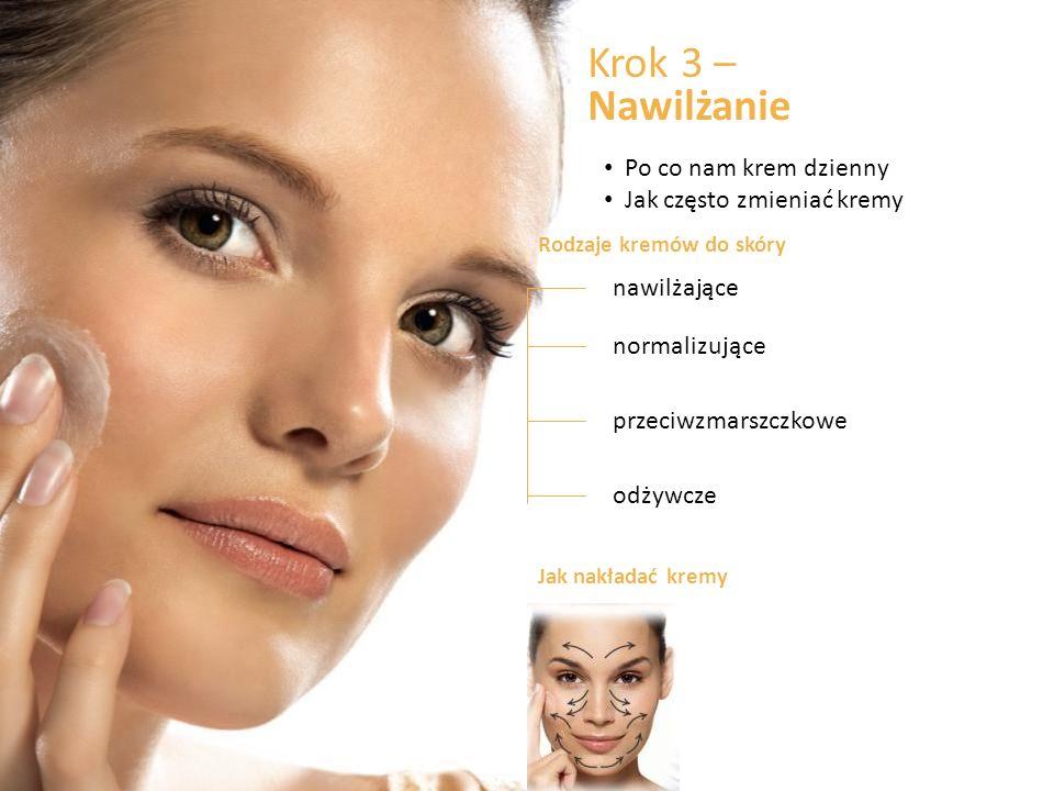 Krok 3 – Nawilżanie Po co nam krem dzienny Jak często zmieniać kremy Rodzaje kremów do skóry nawilżające przeciwzmarszczkowe odżywcze normalizujące Jak nakładać kremy