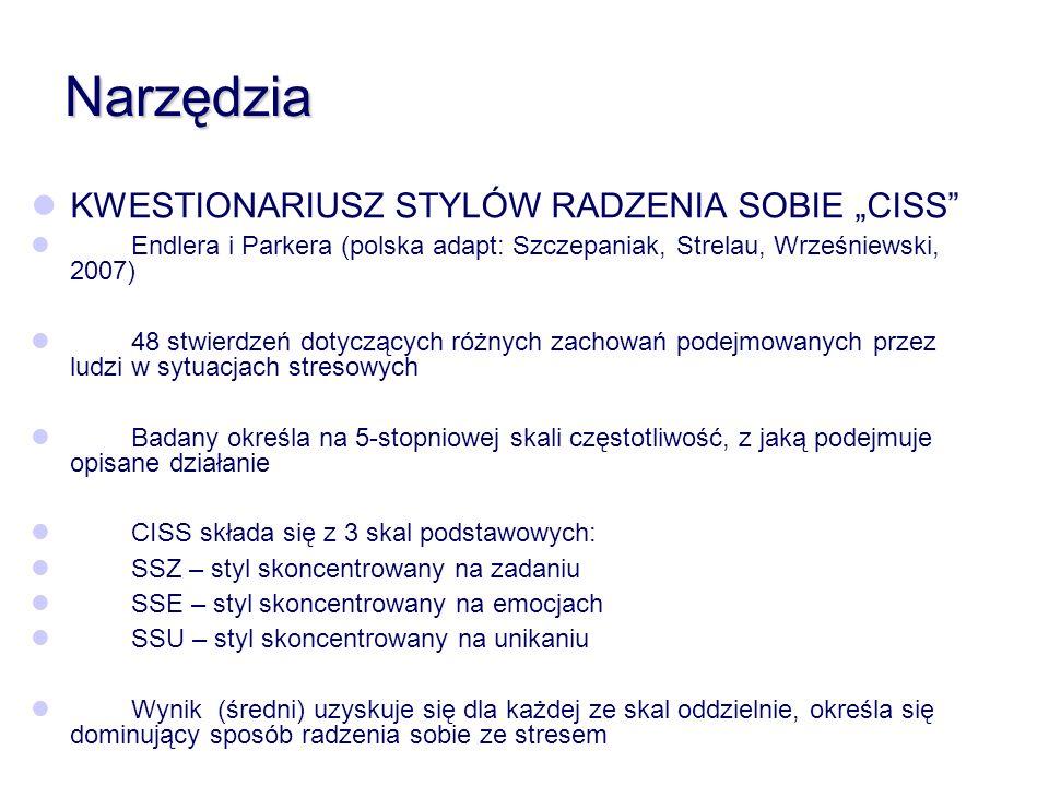 Narzędzia KWESTIONARIUSZ STYLÓW RADZENIA SOBIE CISS Endlera i Parkera (polska adapt: Szczepaniak, Strelau, Wrześniewski, 2007) 48 stwierdzeń dotyczący
