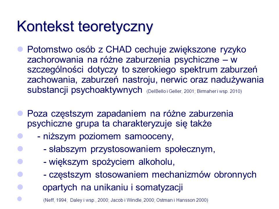 Kontekst teoretyczny Potomstwo osób z CHAD cechuje zwiększone ryzyko zachorowania na różne zaburzenia psychiczne – w szczególności dotyczy to szerokie