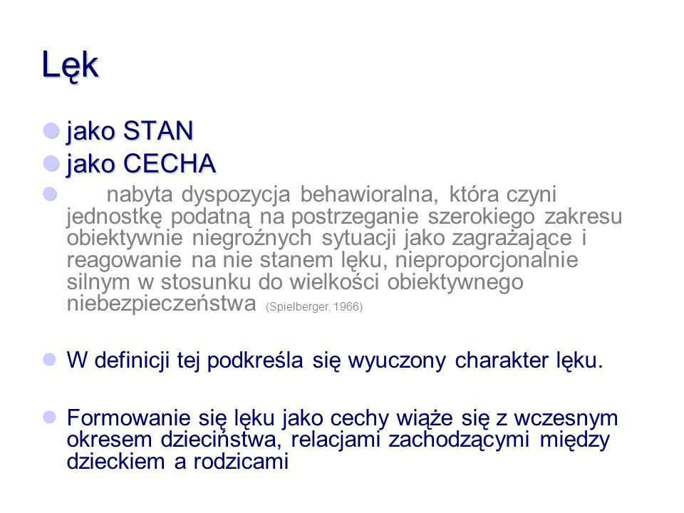 Lęk jako STAN jako STAN jako CECHA jako CECHA nabyta dyspozycja behawioralna, która czyni jednostkę podatną na postrzeganie szerokiego zakresu obiekty