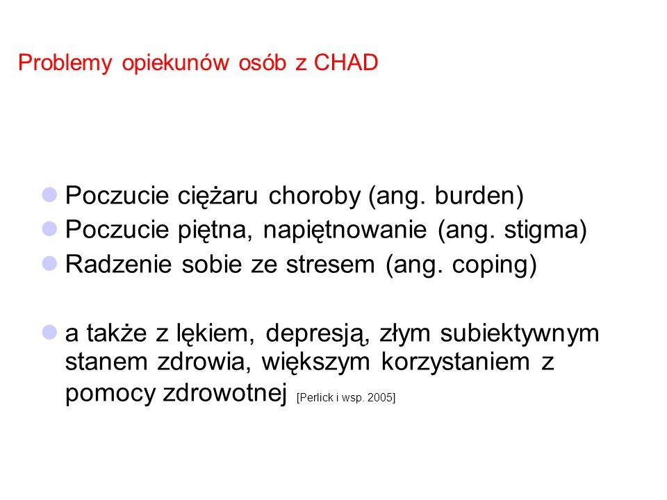 Ciężar choroby CHAD jest obciążeniem dla chorych, ale także ich rodzin, opiekunów (ang.