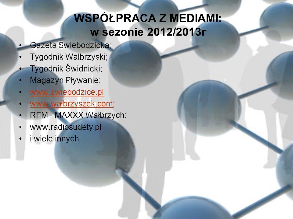 WSPÓŁPRACA Z MEDIAMI: w sezonie 2012/2013r Gazeta Świebodzicka; Tygodnik Wałbrzyski; Tygodnik Świdnicki; Magazyn Pływanie; www.swiebodzice.pl www.wałb