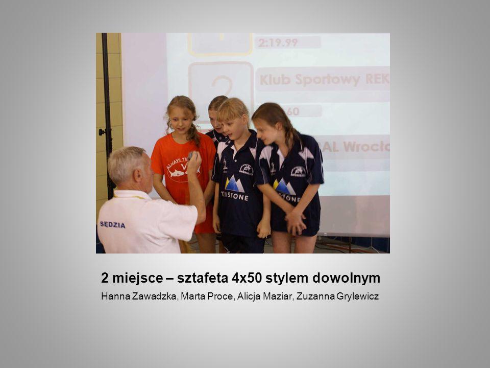 2 miejsce – sztafeta 4x50 stylem dowolnym Hanna Zawadzka, Marta Proce, Alicja Maziar, Zuzanna Grylewicz
