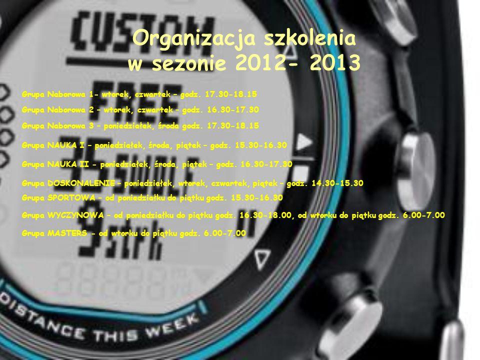 Organizacja szkolenia w sezonie 2012- 2013 Grupa Naborowa 1- wtorek, czwartek – godz. 17.30-18.15 Grupa Naborowa 2 – wtorek, czwartek – godz. 16.30-17