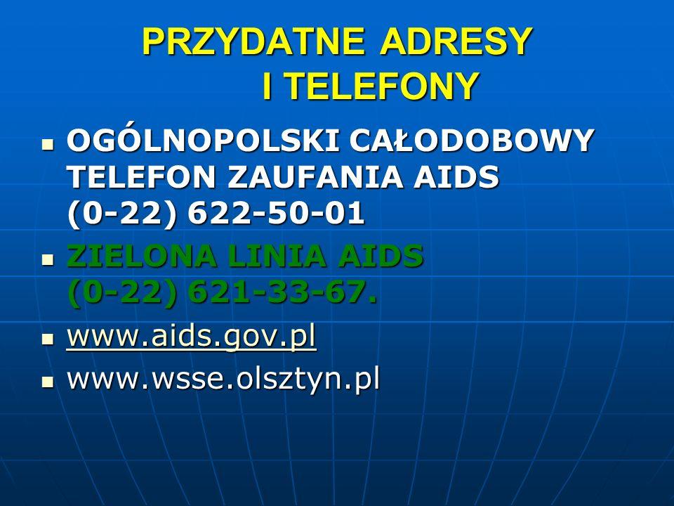 PRZYDATNE ADRESY I TELEFONY OGÓLNOPOLSKI CAŁODOBOWY TELEFON ZAUFANIA AIDS (0-22) 622-50-01 OGÓLNOPOLSKI CAŁODOBOWY TELEFON ZAUFANIA AIDS (0-22) 622-50
