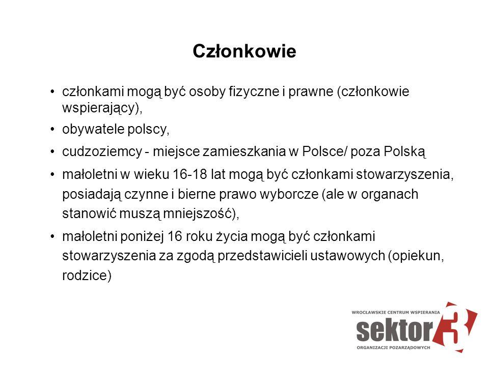 Członkowie członkami mogą być osoby fizyczne i prawne (członkowie wspierający), obywatele polscy, cudzoziemcy - miejsce zamieszkania w Polsce/ poza Po