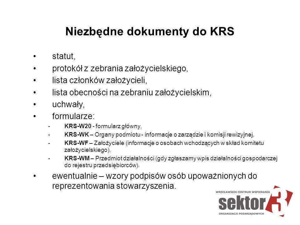 Niezbędne dokumenty do KRS statut, protokół z zebrania założycielskiego, lista członków założycieli, lista obecności na zebraniu założycielskim, uchwa