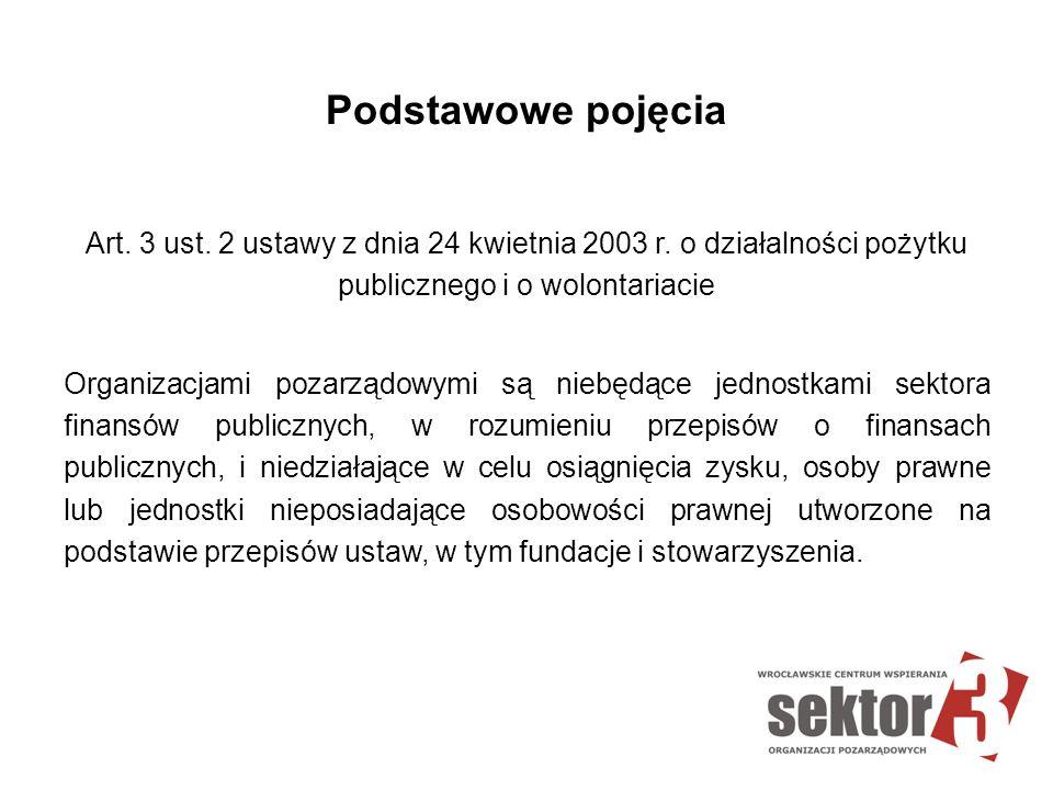 Podstawowe pojęcia Art. 3 ust. 2 ustawy z dnia 24 kwietnia 2003 r. o działalności pożytku publicznego i o wolontariacie Organizacjami pozarządowymi są