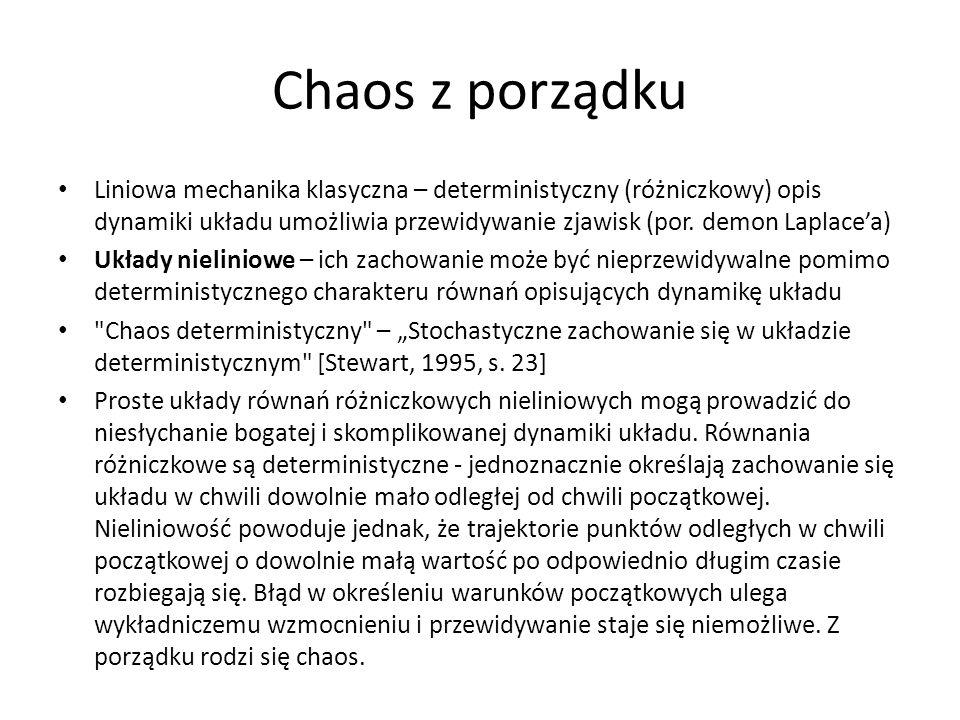 Chaos z porządku Liniowa mechanika klasyczna – deterministyczny (różniczkowy) opis dynamiki układu umożliwia przewidywanie zjawisk (por. demon Laplace