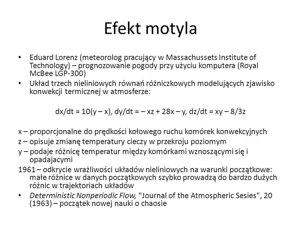 Teoria fraktali – nowe narzędzie matematyczne umożliwia matematyczny opis zjawisk nieregularnych i chaotycznych Rachunek różniczkowy i całkowy nadaje się jedynie do krzywych gładkich, ale są one wyjątkiem bardzo rzadko spotykanym w przyrodzie Dla fraktali nie istnieje kres komplikacji i złożoności Samopodobieństwo - dowolny fragment fraktala wygląda jak cału fraktal - symetria względem skali Mandelbrot: fraktal = przepis na jego konstrukcję F={1/n, b} n - współczynnik zmiejszania, b - ile zmiejszonych części bierzemy do dalszej konstrukcji