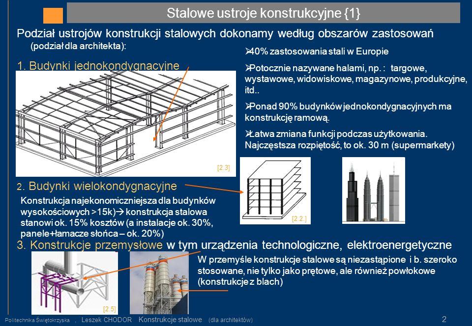Stalowe ustroje konstrukcyjne {2} Politechnika Świętokrzyska, Leszek CHODOR Konstrukcje stalowe (dla architektów) 3 4.