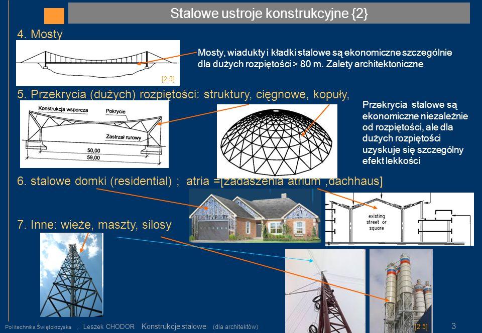 Podstawowe elementy konstrukcji stalowej {1} Politechnika Świętokrzyska, Leszek CHODOR Konstrukcje stalowe (dla architektów) 4 Podstawowymi elementami konstrukcji stalowych są: 1.Belki (np.