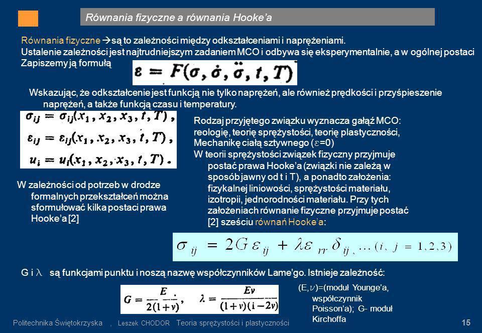 Równania fizyczne a równania Hookea Gdzie: σ n – wartość napręeń nominalnych α K = σ max / σ n σ n = P/F K Rys.3. Rozkład napręeń w pręcie płaskim z k
