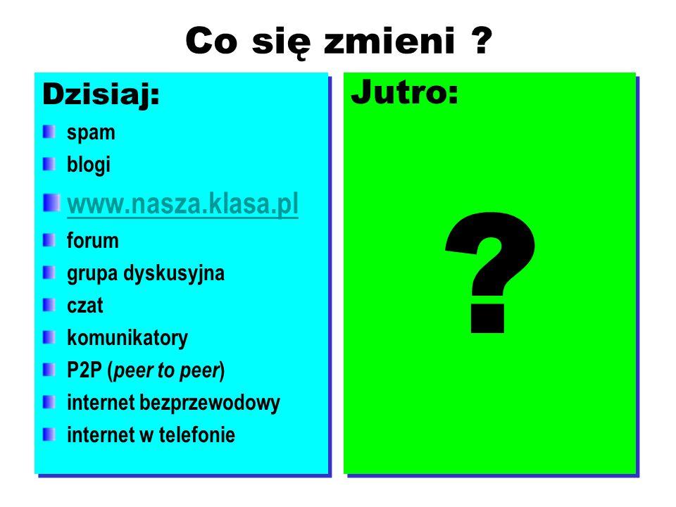 8 Co się zmieni ? Dzisiaj: spam blogi www.nasza.klasa.pl forum grupa dyskusyjna czat komunikatory P2P ( peer to peer ) internet bezprzewodowy internet