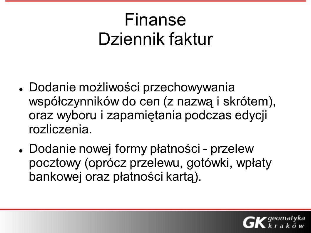 Finanse Dziennik faktur Dodanie możliwości przechowywania współczynników do cen (z nazwą i skrótem), oraz wyboru i zapamiętania podczas edycji rozlicz