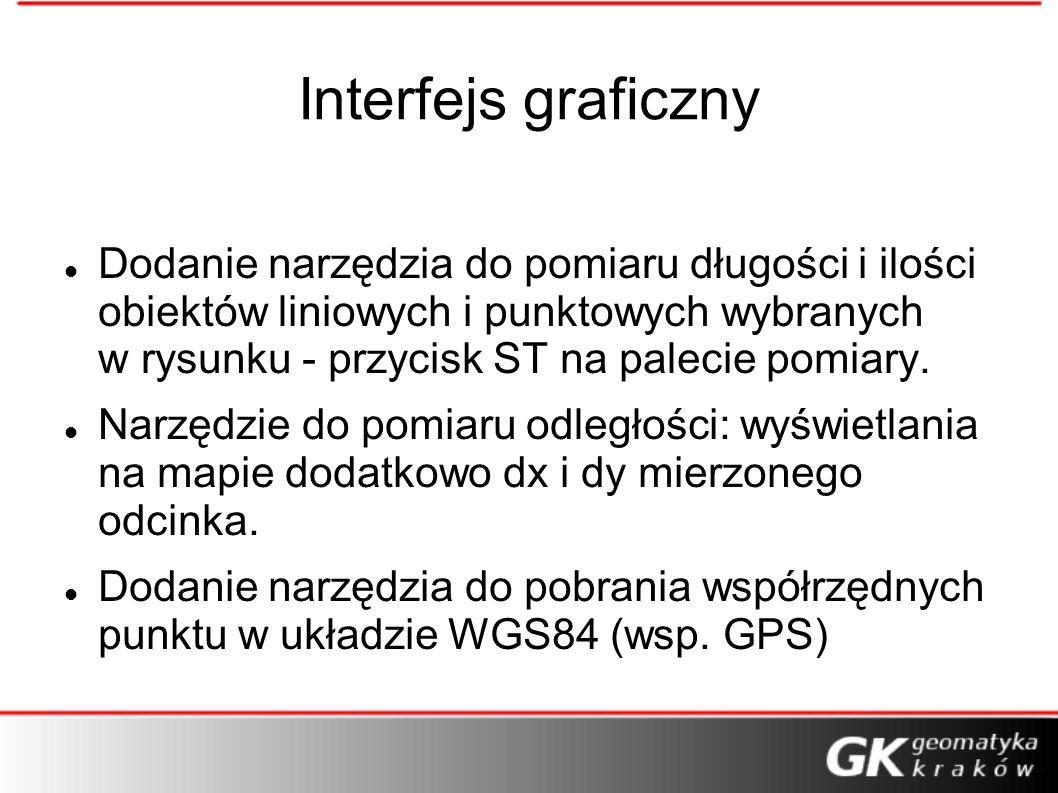 Interfejs graficzny Dodanie narzędzia do pomiaru długości i ilości obiektów liniowych i punktowych wybranych w rysunku - przycisk ST na palecie pomiar