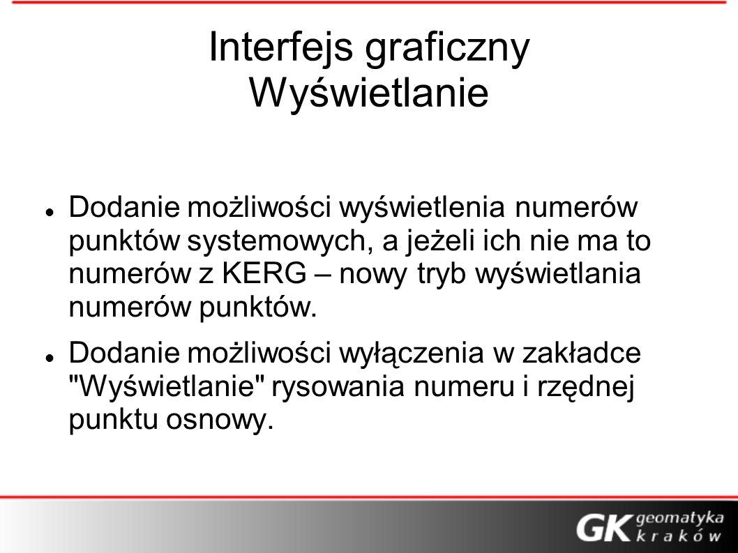 Interfejs graficzny Wyświetlanie Dodanie możliwości wyświetlenia numerów punktów systemowych, a jeżeli ich nie ma to numerów z KERG – nowy tryb wyświe