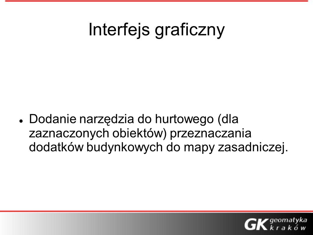 Interfejs graficzny Dodanie narzędzia do hurtowego (dla zaznaczonych obiektów) przeznaczania dodatków budynkowych do mapy zasadniczej.