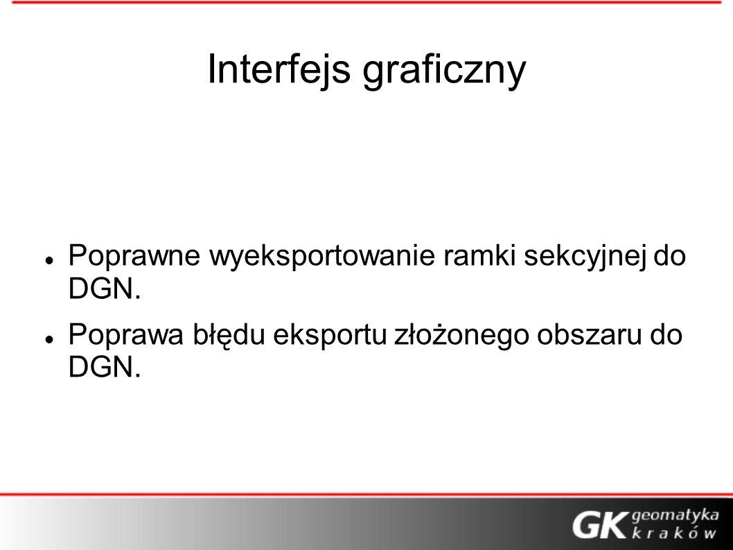 Interfejs graficzny Poprawne wyeksportowanie ramki sekcyjnej do DGN. Poprawa błędu eksportu złożonego obszaru do DGN.
