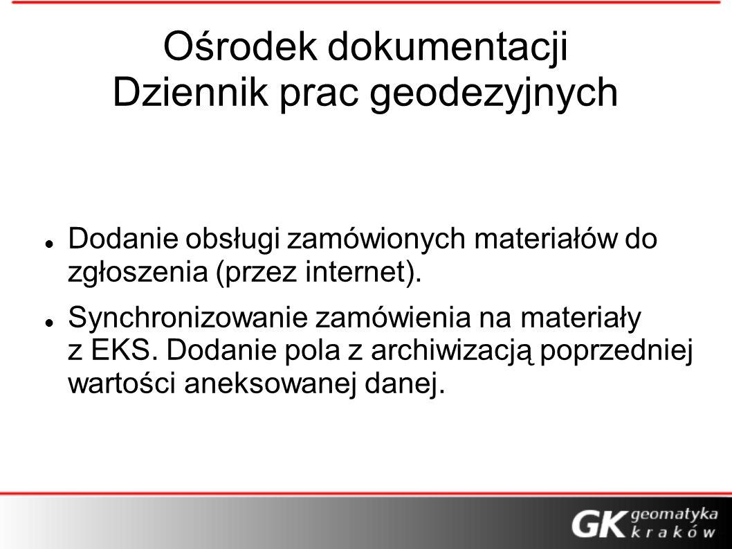 Ośrodek dokumentacji Dziennik prac geodezyjnych Dodanie obsługi zamówionych materiałów do zgłoszenia (przez internet). Synchronizowanie zamówienia na
