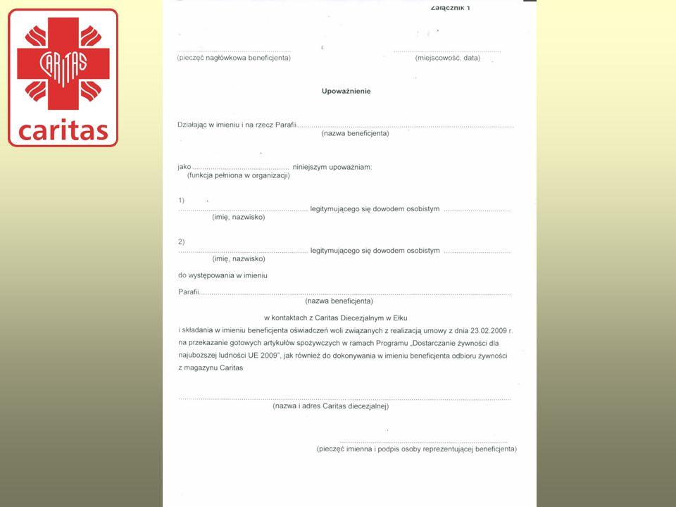 ILOŚCIOWE KRYTERIA PODZIAŁU Po podpisaniu Umowy – porozumienia z Partnerem/Placówką, Caritas diecezjalna przekazuje na piśmie kryterium podziału żywności, które powinno być do wglądu pracowników Agencji Rynku Rolnego w trakcie przeprowadzanej kontroli.