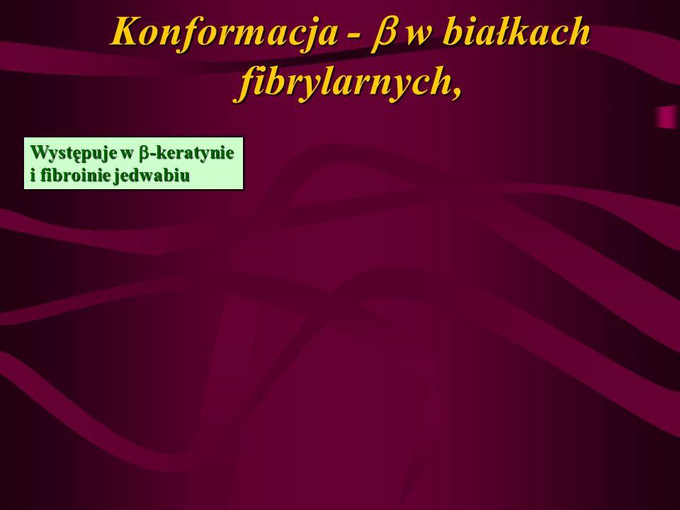 Konformacja - w białkach fibrylarnych, Występuje w -keratynie i fibroinie jedwabiu
