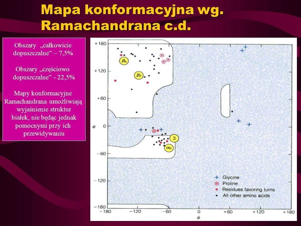 Mapa konformacyjna wg. Ramachandrana c.d. Obszary całkowicie dopuszczalne – 7,5% Obszary częściowo dopuszczalne - 22,5% Mapy konformacyjne Ramachandra