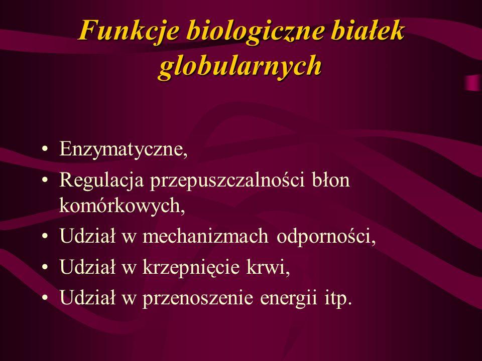 Funkcje biologiczne białek globularnych Enzymatyczne, Regulacja przepuszczalności błon komórkowych, Udział w mechanizmach odporności, Udział w krzepni