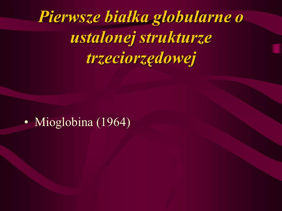 Pierwsze białka globularne o ustalonej strukturze trzeciorzędowej Mioglobina (1964)