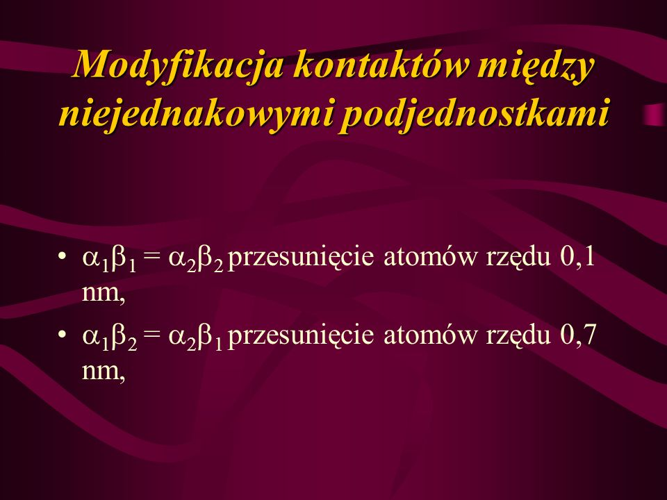 Modyfikacja kontaktów między niejednakowymi podjednostkami 1 1 = 2 2 przesunięcie atomów rzędu 0,1 nm, 1 2 = 2 1 przesunięcie atomów rzędu 0,7 nm,