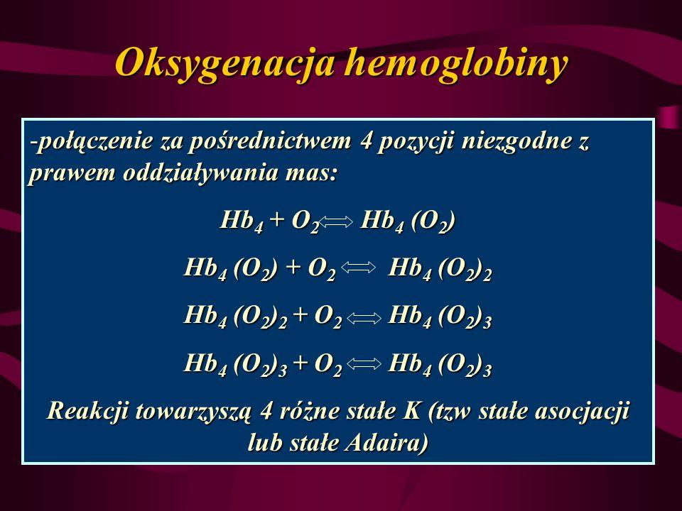 Oksygenacja hemoglobiny -połączenie za pośrednictwem 4 pozycji niezgodne z prawem oddziaływania mas: Hb 4 + O 2 Hb 4 (O 2 ) Hb 4 (O 2 ) + O 2 Hb 4 (O