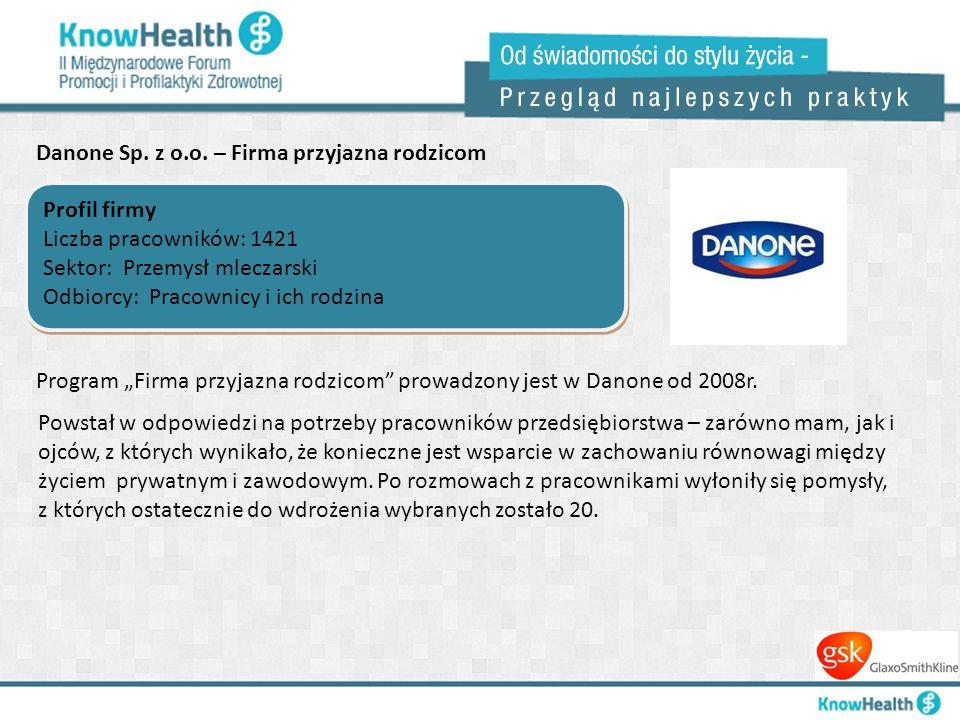 Danone Sp. z o.o. – Firma przyjazna rodzicom Profil firmy Liczba pracowników: 1421 Sektor: Przemysł mleczarski Odbiorcy: Pracownicy i ich rodzina Prof