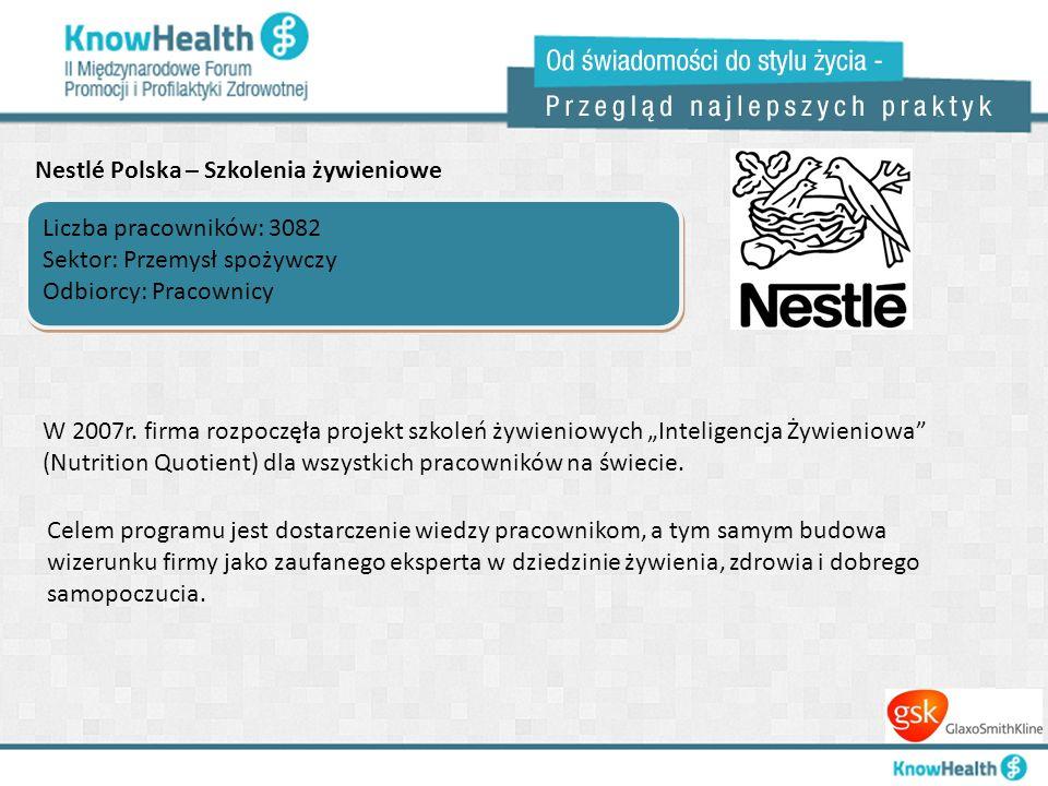 Nestlé Polska – Szkolenia żywieniowe Liczba pracowników: 3082 Sektor: Przemysł spożywczy Odbiorcy: Pracownicy Liczba pracowników: 3082 Sektor: Przemys
