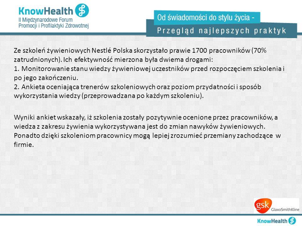Ze szkoleń żywieniowych Nestlé Polska skorzystało prawie 1700 pracowników (70% zatrudnionych). Ich efektywność mierzona była dwiema drogami: 1. Monito