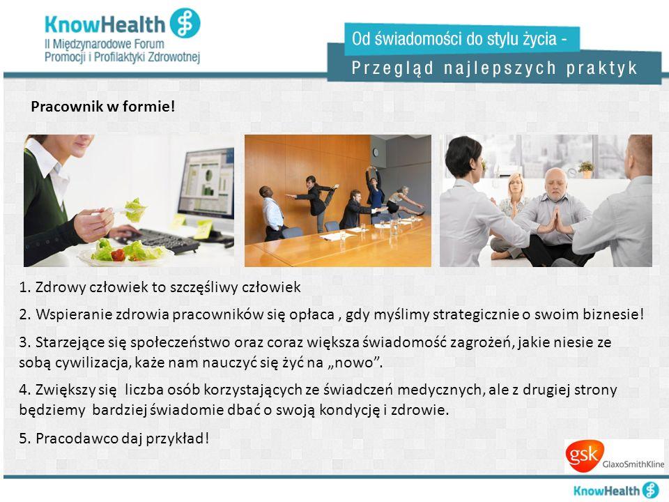 Pracownik w formie! 1. Zdrowy człowiek to szczęśliwy człowiek 2. Wspieranie zdrowia pracowników się opłaca, gdy myślimy strategicznie o swoim biznesie