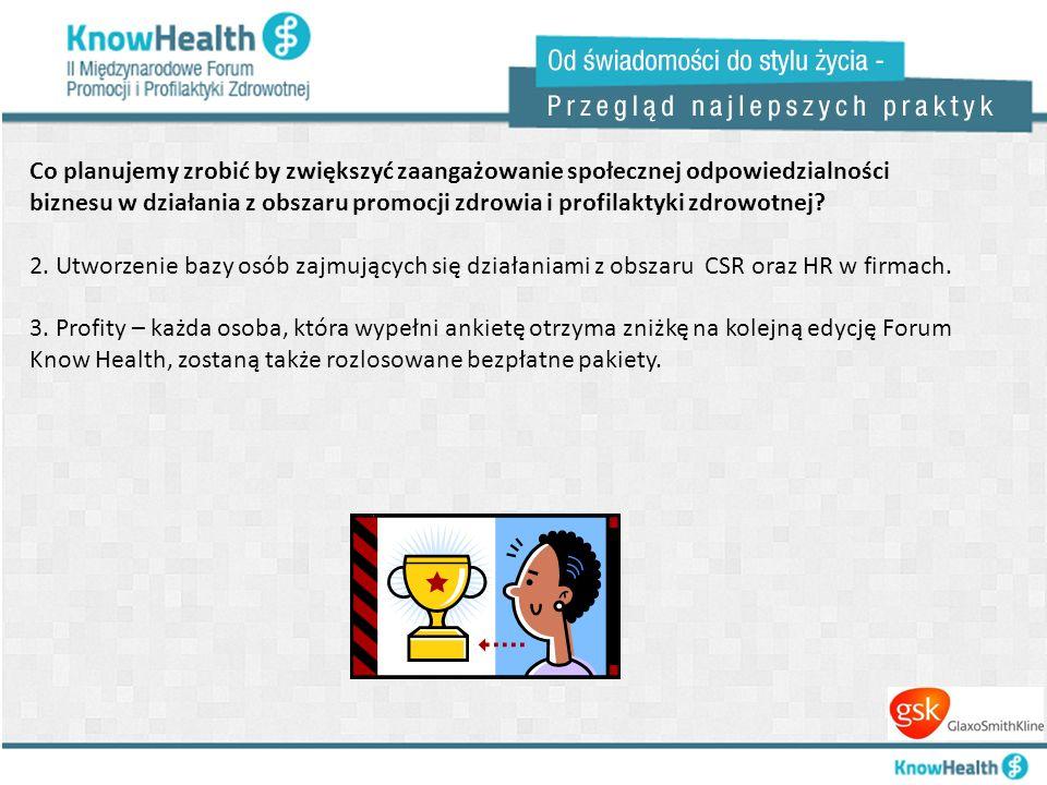 Co planujemy zrobić by zwiększyć zaangażowanie społecznej odpowiedzialności biznesu w działania z obszaru promocji zdrowia i profilaktyki zdrowotnej?