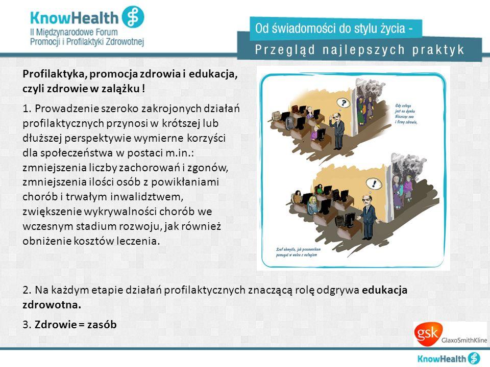 Profilaktyka, promocja zdrowia i edukacja, czyli zdrowie w zalążku ! 1. Prowadzenie szeroko zakrojonych działań profilaktycznych przynosi w krótszej l